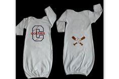 Monogram  Baby Boy Baseball Layette Gown Take Me Home by LilMamas, $31.00