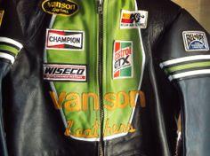 "VANSON ""STAR"" LEATHER RACING JACKET SIZE 46 Light Green #Vanson"