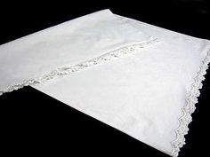 VINTAGE PILLOW SHAM EMBROIDERED LACE Open Both Ends 23 X 32