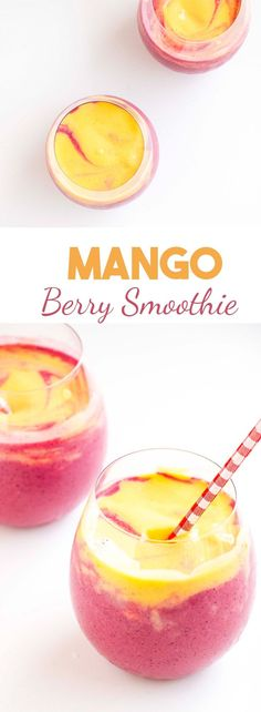 Mango Berry Smoothie -The perfect health kick that tastes absolutely delicious. Packed with antioxidants, vegan and easy to make.