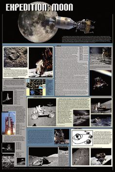 Laminated Expedition: Moon Poster 24x36 Views From Space
