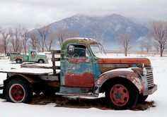 Two Old Rusty Winter Vintage Taos Trucks - Turquoise n Rust Chevy  - Lime Green Dodge Pickup - Taos Mountain - 7x10 Fine Art Giclee