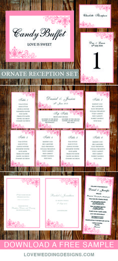Romantic and elegant reception set. Set up as printable wedding templates. Matching table plan, wedding sign, wedding programs, table numbers and more. View the full collection and download a free sample.