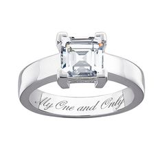 Classic engagement ring features a sparkling CZ totalling carats. Set simply on a Sterling Silver hi-polished band. Engrave a personalized message on the inside of the band. Wedding Band Engraving, Ring Engraving, Gold Jewellery Wallpaper, Planet Jewelry, Sunflower Jewelry, Classic Engagement Rings, Blue Topaz Ring, Engraved Rings, Bridal Jewelry Sets