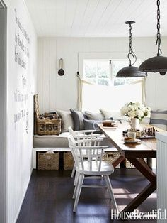 Small Space Design - Decorating Ideas for Small Spaces - House Beautiful Window seat and dining table Trestle Dining Tables, Dining Room Chairs, Dining Area, Dining Rooms, Dining Bench, Dining Decor, Decoration Inspiration, Room Inspiration, Decor Ideas