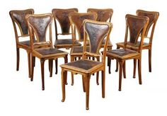 (Lot of 8) Art Nouveau Jugendstil white oak dining chairs, early 20th Century, each having a curved crest rail with carved stylized ... - Price Estimate: $800 - $1200