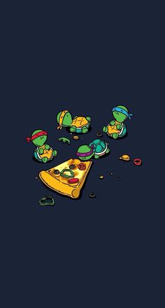 The turtles eating a pizza