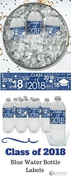 These blue Class of 2018 Water Bottle Labels are the perfect refreshment decorations for your upcoming:Graduation Party Graduation Ceremony Class of 2018 Senior Banquet