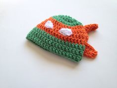 $15.00 - Baby boy Infant Teenage Mutant Ninja Turtle Michelangelo crochet beanie hat, size Newborn 0-3 Months and 3-6 months. Keep your little one's head warm with this cute Donatello Teenage Mutant Ninja Turtle crochet hat! Perfect for photo shoots or everyday wear! If you don't see your size, ask the seller!