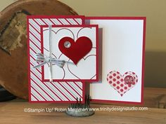 handmade Valentine card from Trinity Designs . z-fold design . patterned papers from Christmas . Love Valentines, Valentine Day Cards, Holiday Cards, Christmas Cards, Christmas Music, Valentine Ideas, Christmas Tree, Fancy Fold Cards, Folded Cards