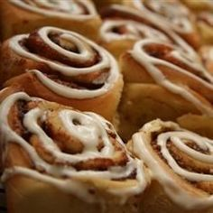 Here's an easy alternative to buying those famous cinnamon rolls in the mall. They taste exactly the same, and the dough is made in the bread machine.