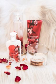 bath and body works, japanese cherry blossom, body cream, body lotion, body spray, candle, homemade cookies