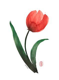 Tulip, sumi-e by: 7e55e  #art #sumie