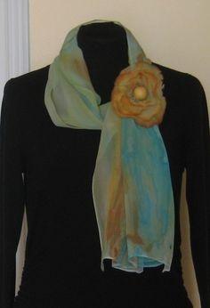 Felted flower on silk scarf