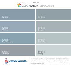 I found these colors with ColorSnap® Visualizer for iPhone by Sherwin-Williams: Daphne (SW 9151), Aleutian (SW 6241), Favorite Jeans (SW 9147), Let it Rain (SW 9152), Debonair (SW 9139), Stardew (SW 9138), Niebla Azul (SW 9137), Lullaby (SW 9136).