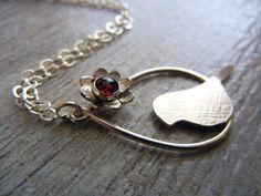 Garnet flower bird necklace