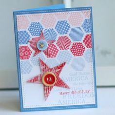 6/10/2012; Betsy Veldman at 'Paper Scissors SuperHeroes' blog using PTI products; see how she lined up the hexagons on a grid block to make the stamping go quickly