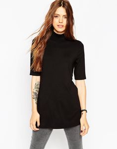 ASOS+Tunic+With+Side+Splits+And+Polo+Neck+In+Short+Sleeves