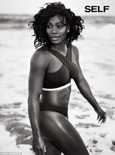 Out for a stroll: The shoot sees the tennis champion posing by a beach in different sports...