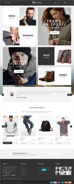 Athena is a clean and modern #design #PSD #template for unique eCommerce website with 15+ stunning homepage options, 39+ Layered PSD pages, 11+ shop and 5+ blog pages download now ⇨ https://themeforest.net/item/athena-fashion-ecommerce-psd-template/17262223?ref=Datasata