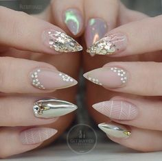 Rose Gold And White Stiletto Nails
