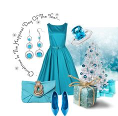 """blue Christmas"" by sagramora ❤ liked on Polyvore"