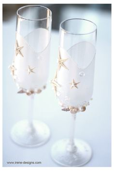 $45 Pearl Wedding Glasses Wedding champagne glasses by IrenDesigns, €45.00