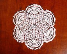 Centro de mesa encaje de crochet blanco / tapete