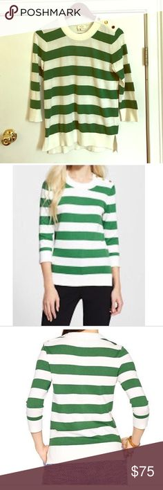 Kate Spade striped sweater Worn once, green and off-white striped sweater by Kate Spade. Great condition, and perfect going into Spring! kate spade Sweaters Crew & Scoop Necks