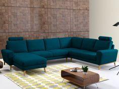 Canapé d'angle panoramique en tissu VISBY - Bleu canard - Angle gauche Living Room Sofa Design, Living Room Tv, Home And Living, Living Room Designs, Sofa Furniture, Furniture Design, Corner Sofa, Apartment Interior, Sofa Set