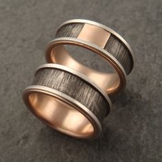 Wedding Band Titanium Ring with Hammered by DownToTheWireDesigns