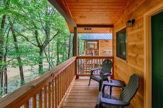 A porch overlooking the river at a cabin at Pigeon River Campground.