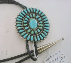 Vintage Zuni Petit Point Bolo Tie in Sterling Silver and Turquoise
