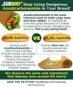 "Food Babe Launches Her Campaign Against Subway: ""Stop Using Dangerous Chemicals In Your Bread."" Learn More: http://foodbabe.com/subway"