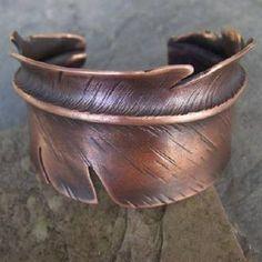 Feather Cuff - Copper Bracelet