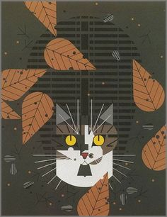 Charley Harper - Birdwatcher: this is my baby!cats. This kitty looks nothing like my cats, but OMG the laser attention on birdwatching is so them.