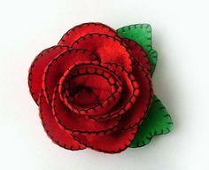 Red Rose Tattoo Brooch by TheDollCityRocker on Etsy, $19.00