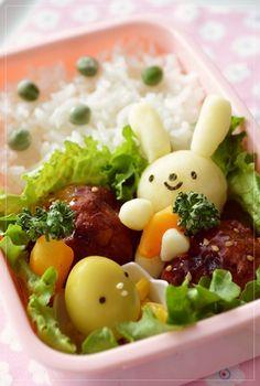 Mashed Potato Bunny Holding a Carrot, Kyaraben Bento by Tamako Okamoto