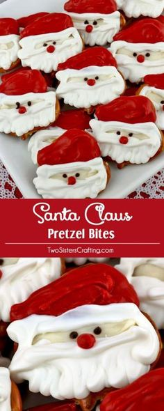 Santa Claus Pretzel Bites - you'll only need pretzels and candy melts to make these adorable sweet and salty Santa Claus Christmas treats. We have step by step instructions on how to make this festive Christmas Dessert for your family this Christmas. Pin this easy Holiday Candy for later and follow us for more great Christmas Food Ideas. by callie