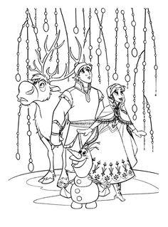 Image d'Anna, Elsa, Kristoff, Sven et Olaf à imprimer, A partir de la galerie : La Reine De Glace