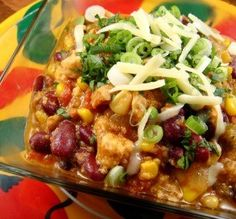 """Chicken Chili: """"This beautiful, rich chili was studded with corn and lovely chunks of peppers. The dish was well seasoned without being too spicy-hot.""""  -justcallmetoni"""