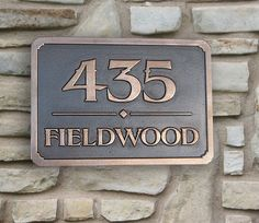 Two tone address plaque coated in copper and iron trim for Location plaque garage