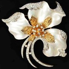 Trifari 'Alfred Philippe' Gold Pave and Mother-of-Pearl Swaying Coral and Seaweed Pin by adele