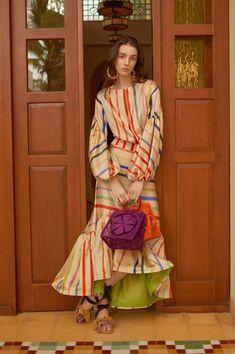 Chic Stripe Lantern Sleeves Floral Print Maxi Dress Fishtail Dress same_as_photo xl Boho Fashion, Fashion Show, Fashion Looks, Fashion Outfits, Womens Fashion, Fashion Design, Ladies Fashion, Dress Fashion, Fashion Trends