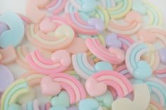 ♡Super kawaii heart rainbow cabochons in assorted colors, the perfect detail for all your cute designs!♡    Colors: pink/light pink,