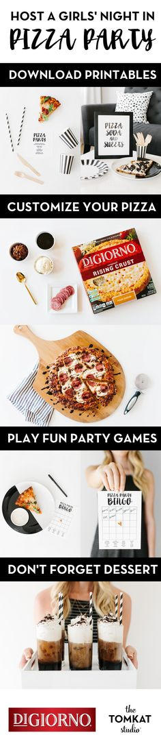 Gather your girlfriends and host a girls' night in DIGIORNO pizza party with ideas from @tomkatstudio! Head over for creative pizza recipes, plus free party printables and game designs and dessert recipe ideas that can be prepared in about 20 minutes while your DIGIORNO pizza is in the oven. Enjoy less time in the kitchen and more time together making memories with these fun (and easy) entertaining ideas. So what are you waiting for? Let the fun begin!