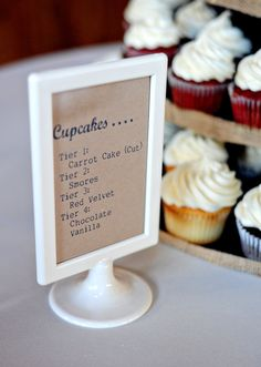 Rustic chic South Carolina wedding reception with cupcakes. Like the menu stand idea. Having cupcakes for our cake. Rustic Wedding, Wedding Reception, Our Wedding, Wedding Ideas, Trendy Wedding, Ikea Wedding, Reception Food, Chic Wedding, Wedding Signs