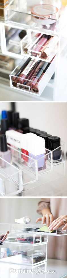 The Luxe Acrylic Makeup Solution can help make putting on makeup fun again by easily organizing and storing your favorite cosmetics so they are at your fingertips.