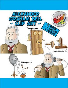 Alexander Graham Bell and his inventions Clip Art - 12 PNGS $