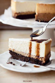 Dulce De Leche Brownie Cheesecake with Coffee Glaze